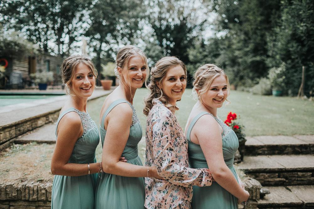 Getting Ready Bride Bridal Bridesmaids Sage Green Beaded Plait Braid Loseley Park Wedding Kit Myers Photography