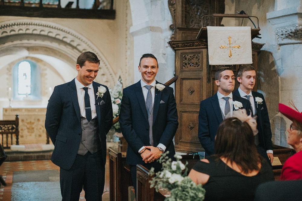 Three Piece Suit Navy Grey Waistcoat Groom Loseley Park Wedding Kit Myers Photography