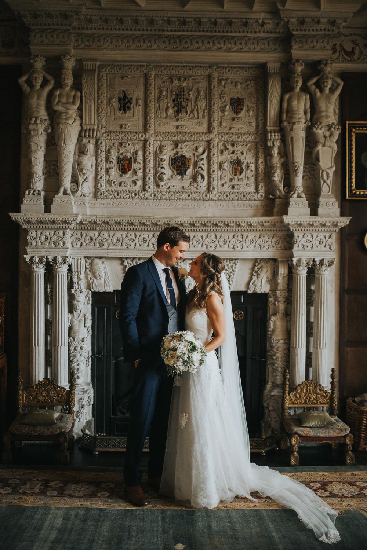 Bride Bridal Sleeveless Embroidered Three Piece Suit Navy Grey Waistcoat Groom Blush White Bouquet Loseley Park Wedding Kit Myers Photography