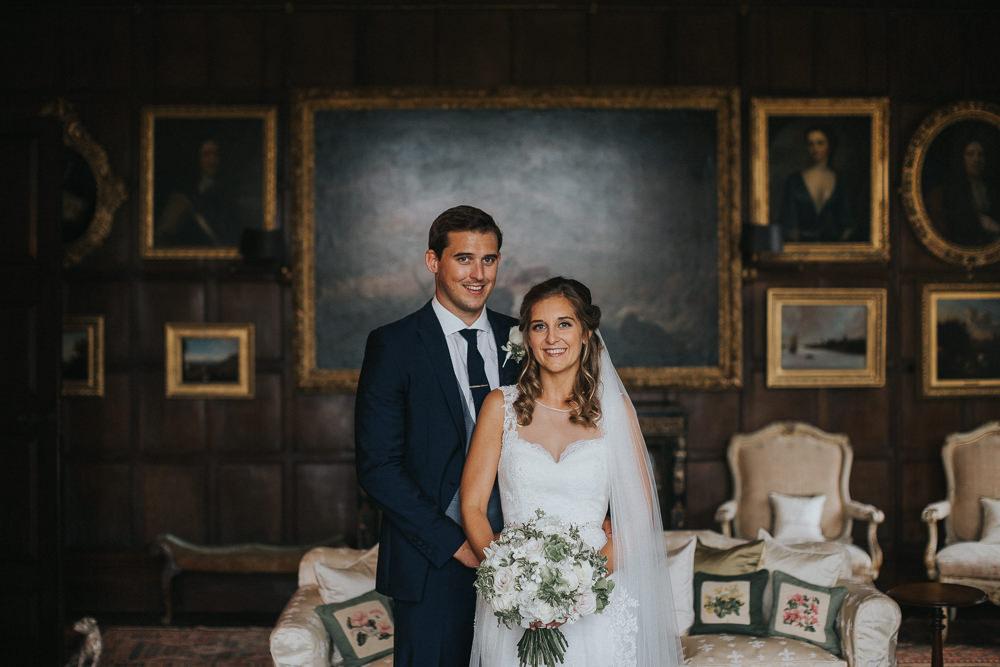 Bride Bridal Sleeveless Embroidered Three Piece Suit Navy Grey Waistcoat Groom Bouquet Veil Loseley Park Wedding Kit Myers Photography