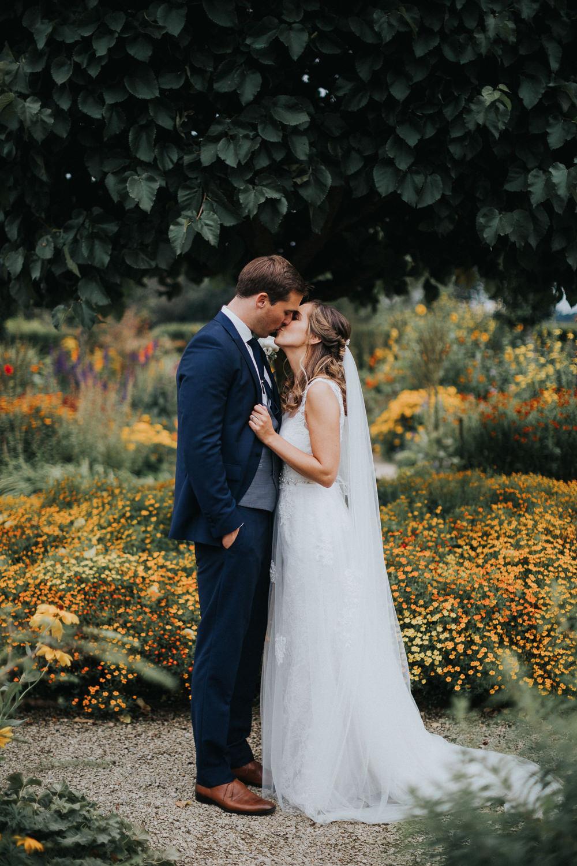 Bride Bridal Sleeveless Embroidered Three Piece Suit Navy Grey Waistcoat Groom Loseley Park Wedding Kit Myers Photography