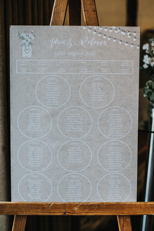 Table Plan Easel Festoon Light Loseley Park Wedding Kit Myers Photography