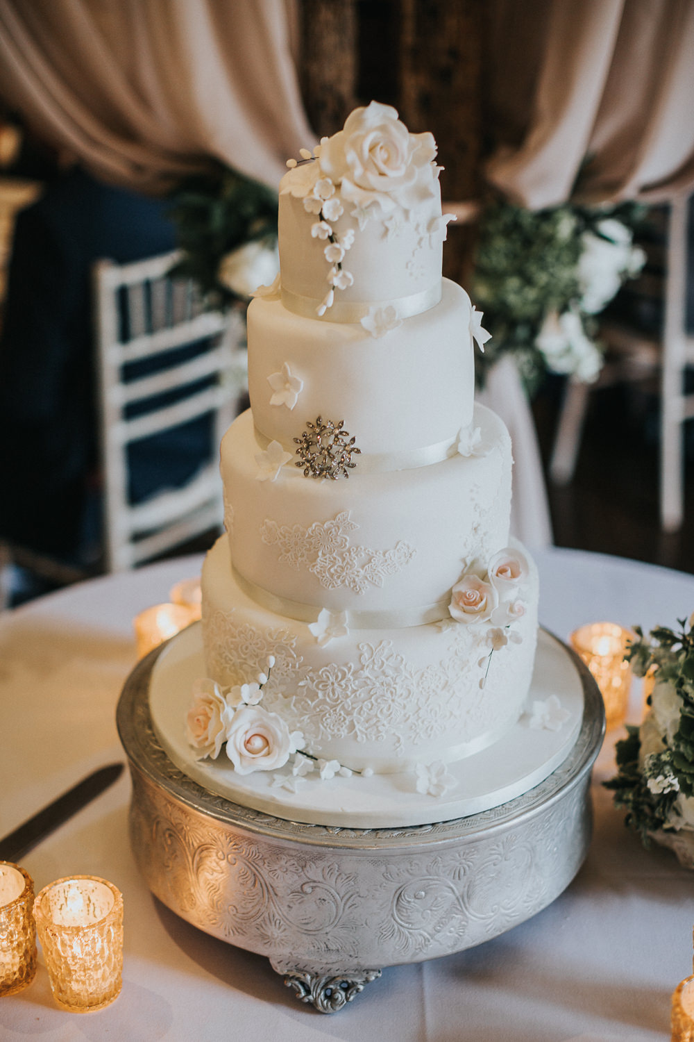 Bride Bridal Bouquet Traditional Classic Tiered Cake Royal Icing Loseley Park Wedding Kit Myers Photography