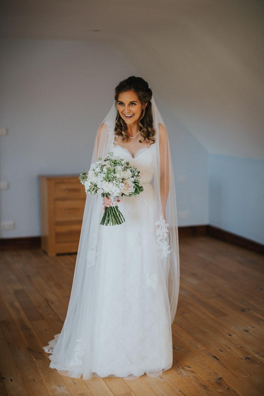 Bride Bridal Sleeveless Embroidered White Blush Bouquet Veil Loseley Park Wedding Kit Myers Photography