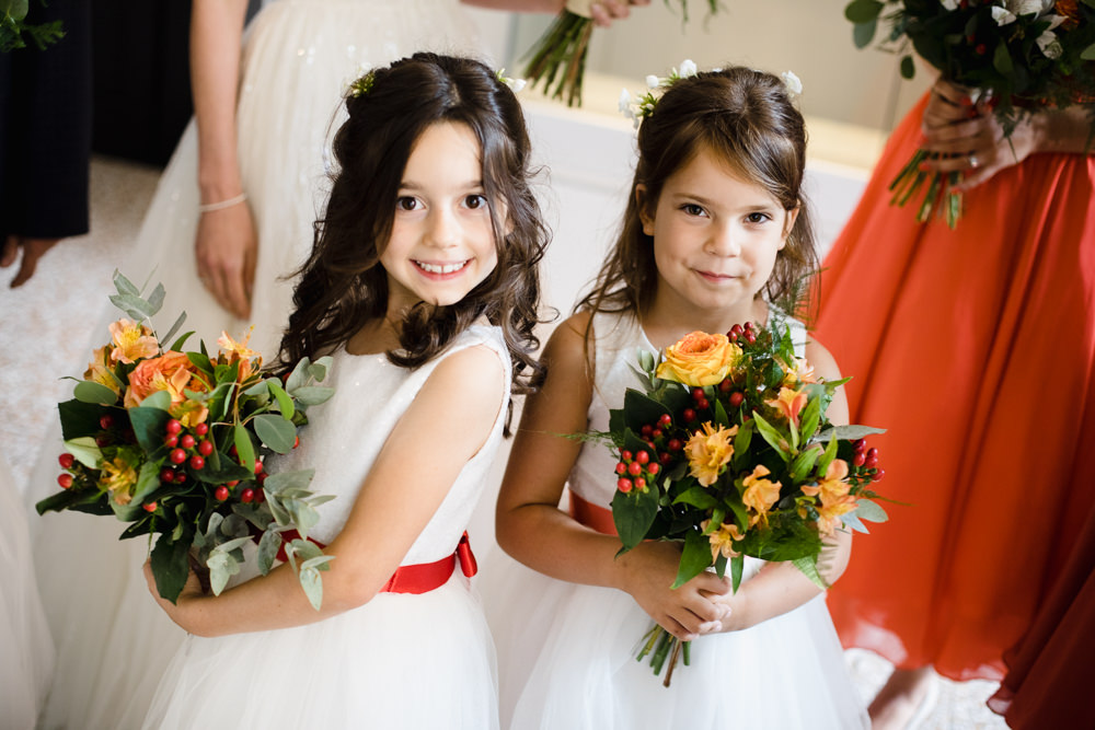 Flower Girls Orange Red Sash Bouquet Berry Rose Manchester Museum Wedding Chris Barber Photography