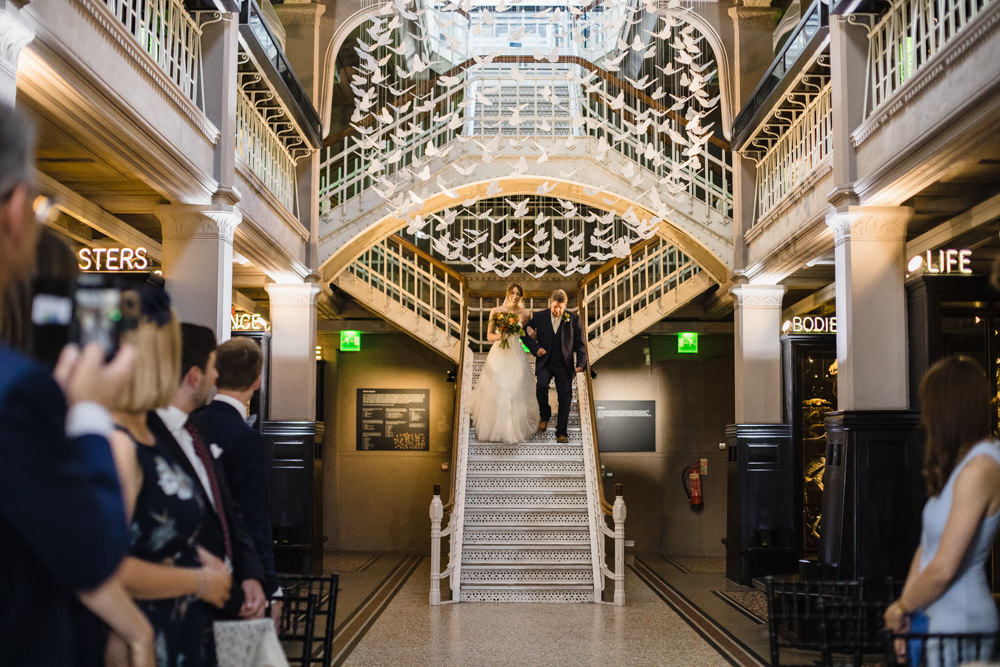 Bride Bridal Watters Sweetheart Neckline A Line Strapless Embellished Veil Manchester Museum Wedding Chris Barber Photography