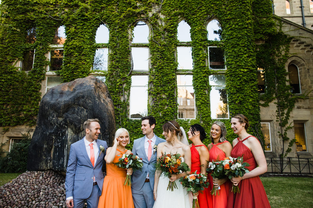 Bride Bridal Watters Sweetheart Neckline A Line Strapless Embellished Veil Blue Grey Ted Baker Suit Groom Orange Red Multiway Bridesmaids Manchester Museum Wedding Chris Barber Photography