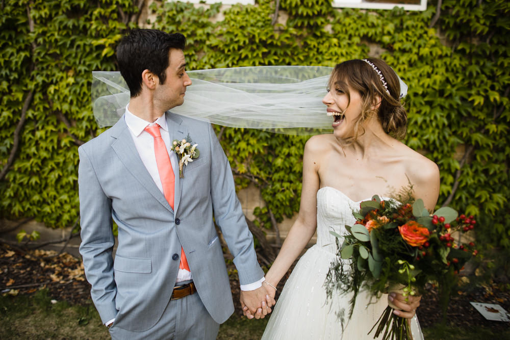 Bride Bridal Watters Sweetheart Neckline A Line Strapless Embellished Veil Blue Grey Ted Baker Suit Groom Peach Tie Orange Red Bouquet Beries Manchester Museum Wedding Chris Barber Photography