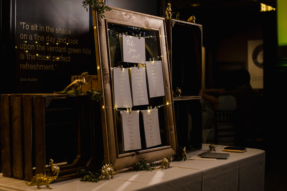 Table Plan Gold Frame Fairy Lights Seating Chart Manchester Museum Wedding Chris Barber Photography
