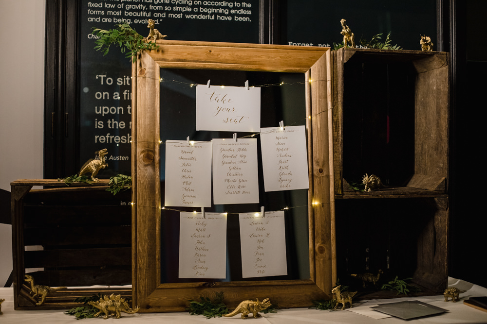 Table Plan Seating Chart Wooden Frame Fairy Light Dinosaurs Crates Manchester Museum Wedding Chris Barber Photography