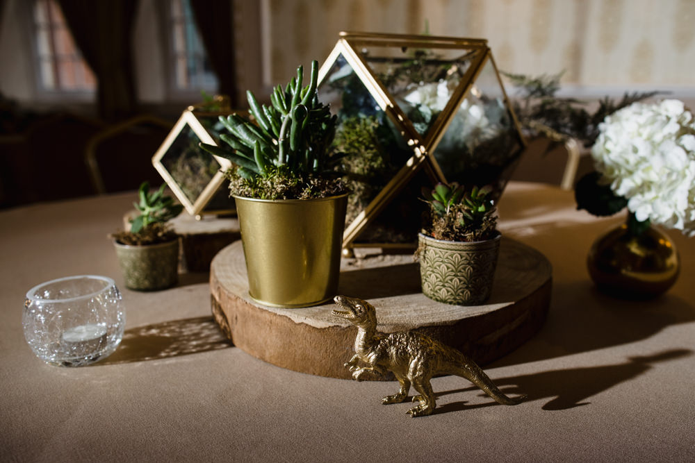 Table Centre Wood Slice Log Gold Dinosaur Succulents Moss Terrarium Manchester Museum Wedding Chris Barber Photography
