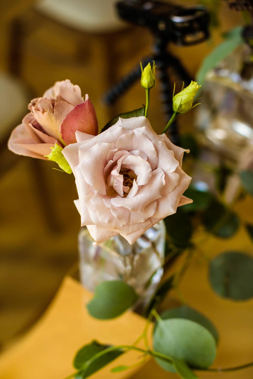 Bud Vase Bottle Flowers Floral Pink Rose Mill Barns Wedding Cassandra Lane Photography
