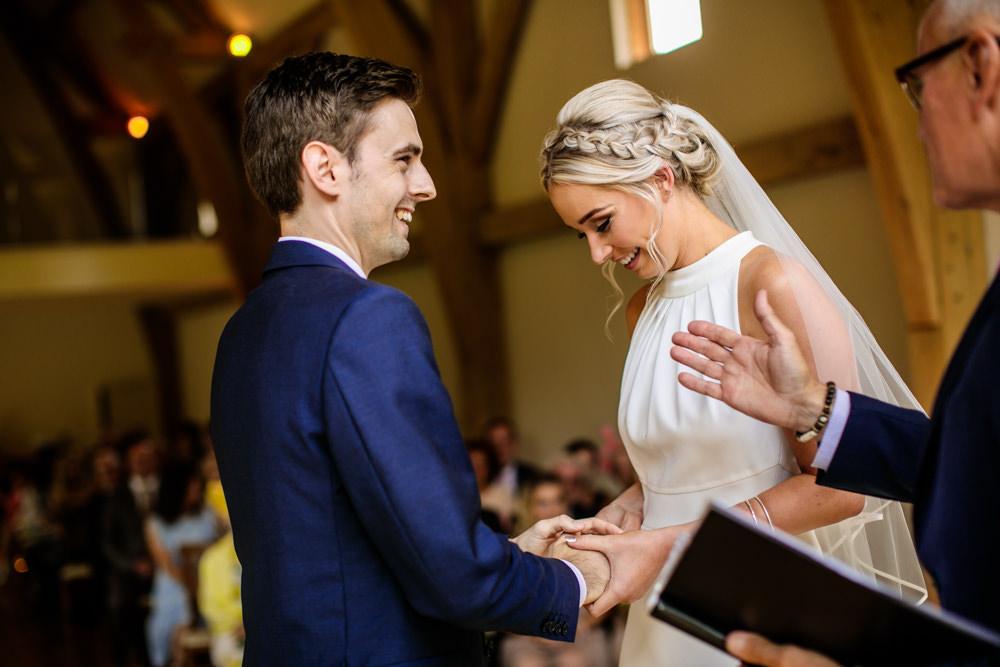 Bride Bridal Halter Neck Dress Gown Fishtail Button Back Navy Groom Suit Veil Braid Plait Up Do Mill Barns Wedding Cassandra Lane Photography