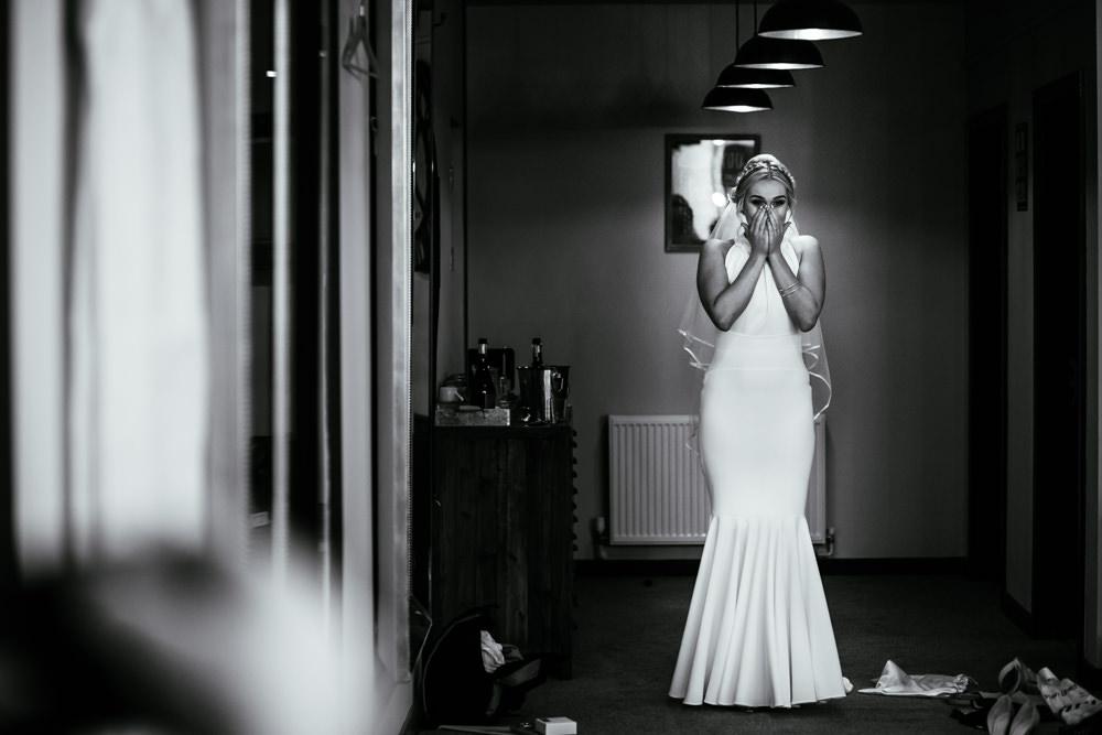Bride Bridal Halter Neck Dress Gown Fishtail Button Back Veil Mill Barns Wedding Cassandra Lane Photography