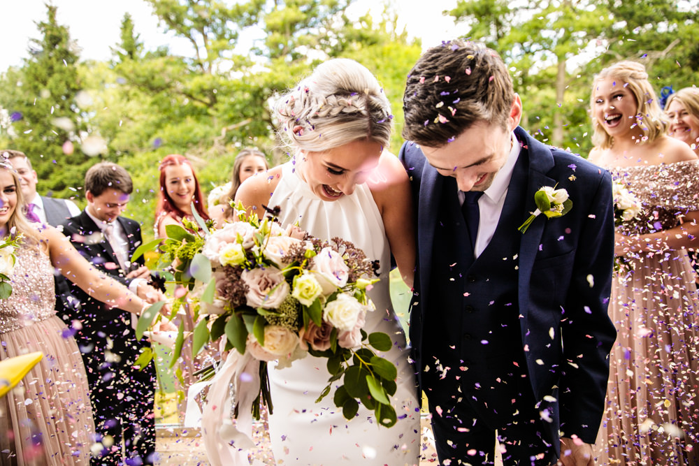 Bride Bridal Halter Neck Dress Gown Fishtail Button Back Navy Groom Suit Confetti Bouquet Mill Barns Wedding Cassandra Lane Photography