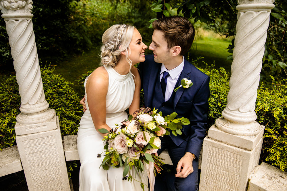 Bride Bridal Halter Neck Dress Gown Fishtail Button Back Navy Groom Suit Blousy Bouquet Mill Barns Wedding Cassandra Lane Photography