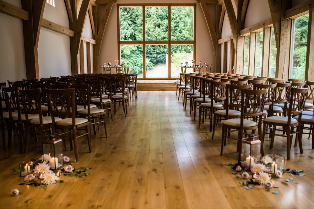 Ceremony Barn Flowers Floral Storm Lanterns Mill Barns Wedding Cassandra Lane Photography