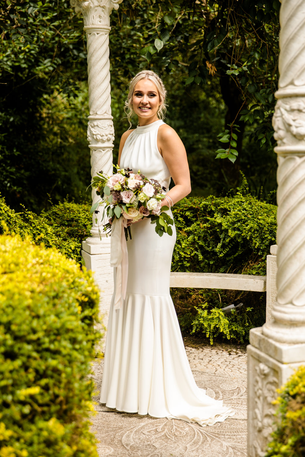 Bride Bridal Halter Neck Dress Gown Fishtail Button Back Blousy Bouquet Mill Barns Wedding Cassandra Lane Photography