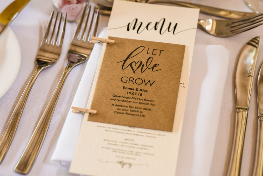 Place Setting Menu Favour Seeds Modern Calligraphy Mill Barns Wedding Cassandra Lane Photography