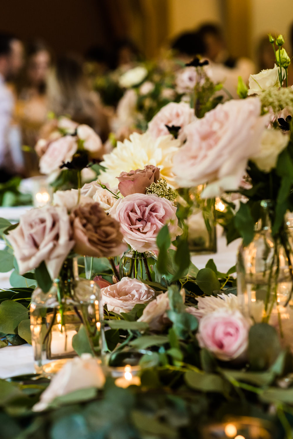 Flowers Floral Antique Rose Pink Cream Bud Vases Greenery Mill Barns Wedding Cassandra Lane Photography