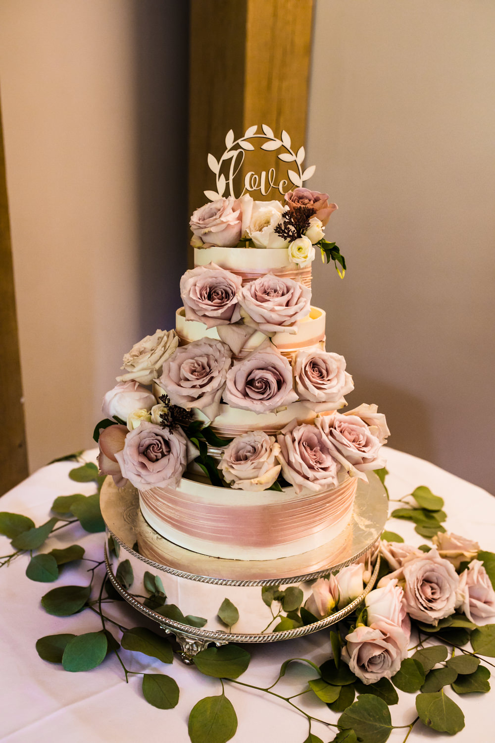 Flowers Floral Antique Rose Pink Cream Cake Buttercream Laser Cut Topper Greenery Mill Barns Wedding Cassandra Lane Photography