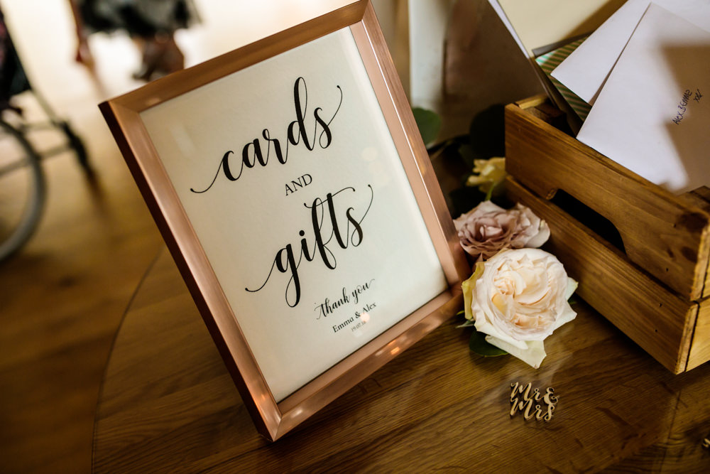 Cards Gifts Sign Rose Gold Frame Mill Barns Wedding Cassandra Lane Photography