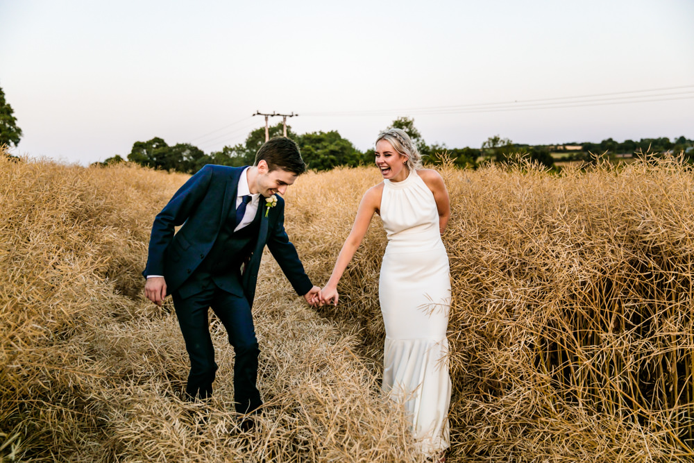 Bride Bridal Halter Neck Dress Gown Fishtail Button Back Navy Groom Suit Mill Barns Wedding Cassandra Lane Photography