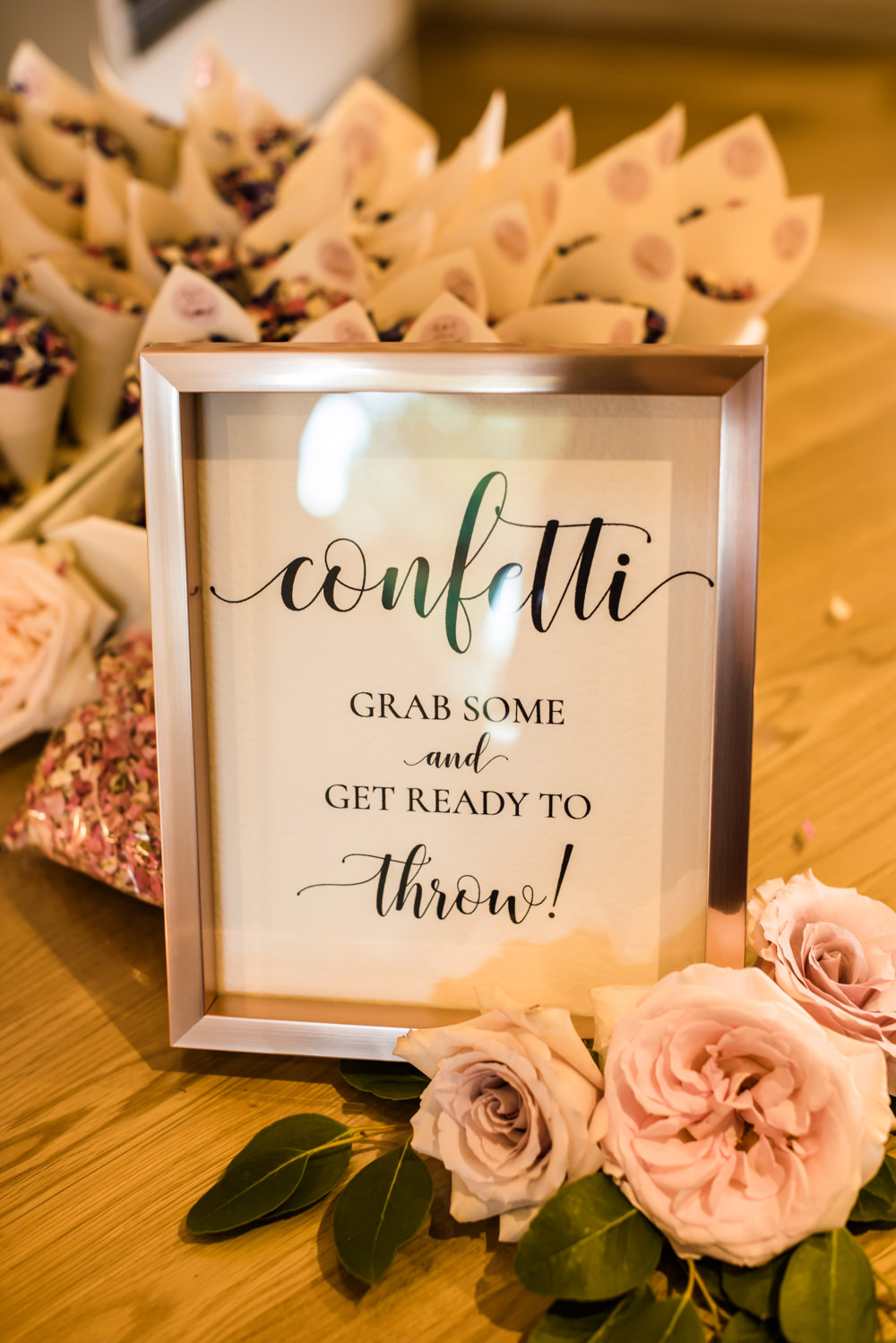 Confetti Sign Rose Gold Modern Calligraphy Mill Barns Wedding Cassandra Lane Photography