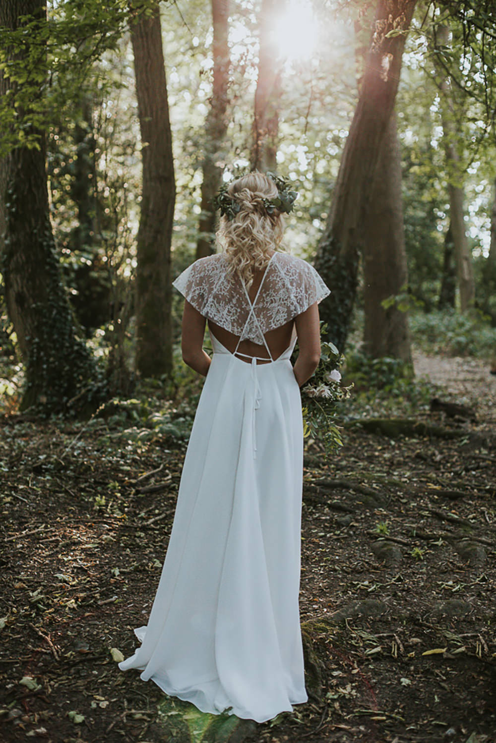 Dress Gown Bride Bridal French Chantilly Lace Silk Georgettes Tulle Sleeves Cape Modern Bohemian Woodland Wedding Ideas Lily Lane Photography