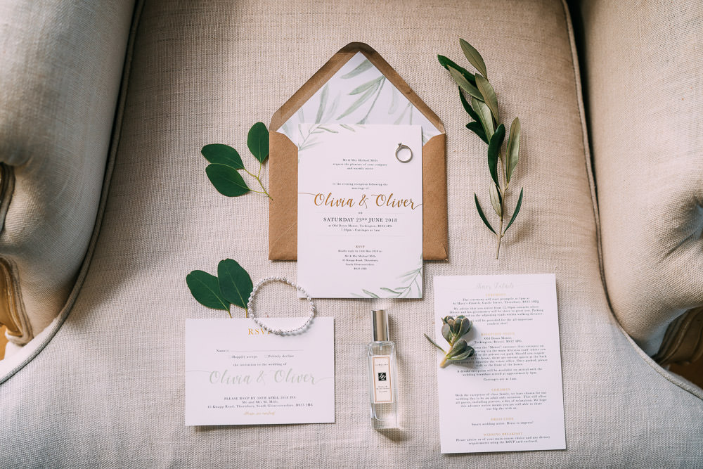 Botanical Modern Stationery Invite Invitations Old Down Estate Wedding Albert Palmer Photography