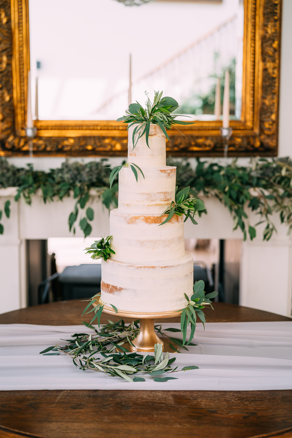 Semi Naked Cake Greenery Foliage Gold Stand Old Down Estate Wedding Albert Palmer Photography