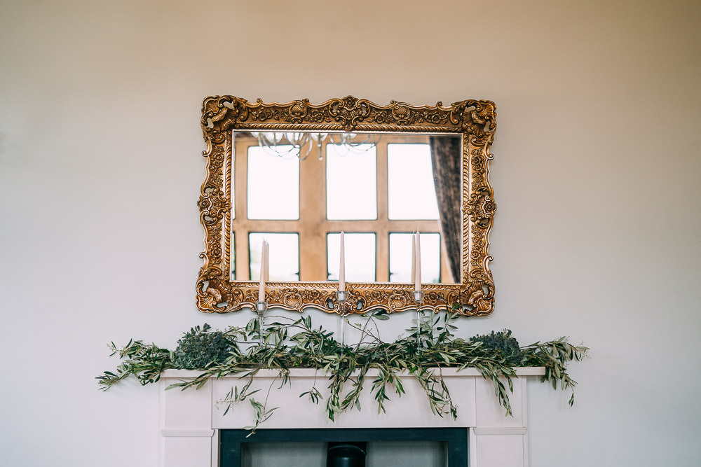 Mantle Piece Flowers Greenery Foliage Old Down Estate Wedding Albert Palmer Photography