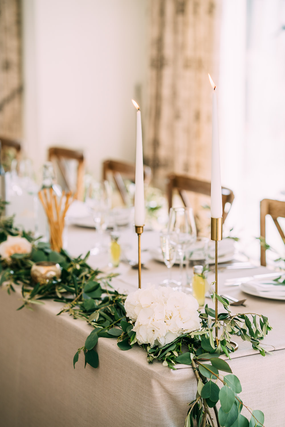 Gold Brass Candle Sticks Tables Greenery Foliage Runner Garland Old Down Estate Wedding Albert Palmer Photography