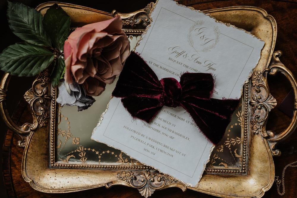 Stationery Invites Invitations Red Burgundy Velvet Ribbon Tray Pylewell Park Wedding New Forest Studio