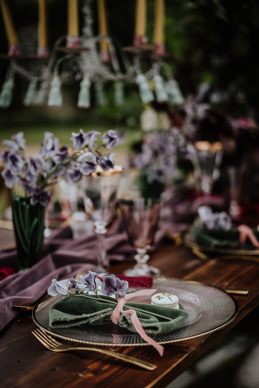 Purple Violet Lilac Tablescape Table Decor Silk Cloth Flowers Pylewell Park Wedding New Forest Studio