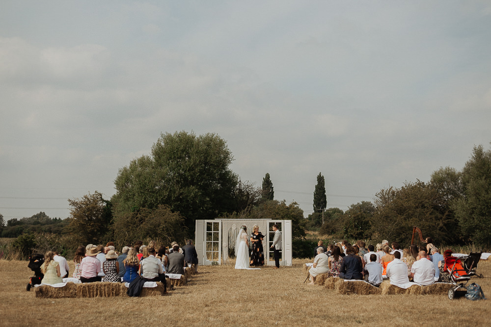 Outdoor Ceremony Backdrop Doors Hay Bales Riverside Weddings Oxfordshire Yurt Luis Calow Photographer