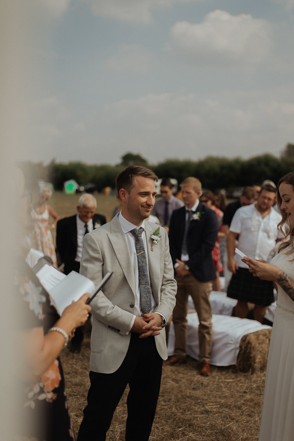Groom Suit Jacket Trousers Tie Mix Match Riverside Weddings Oxfordshire Yurt Luis Calow Photographer