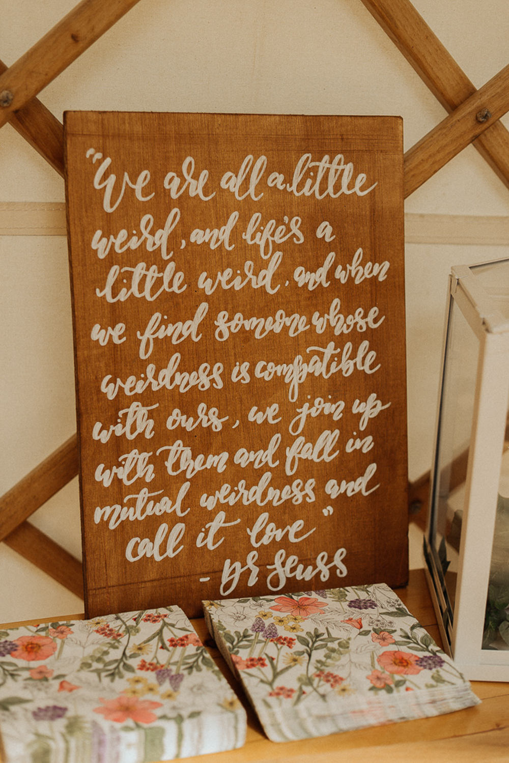 Wooden Painted Rustic Sign Quote Words Love Signage Riverside Weddings Oxfordshire Yurt Luis Calow Photographer