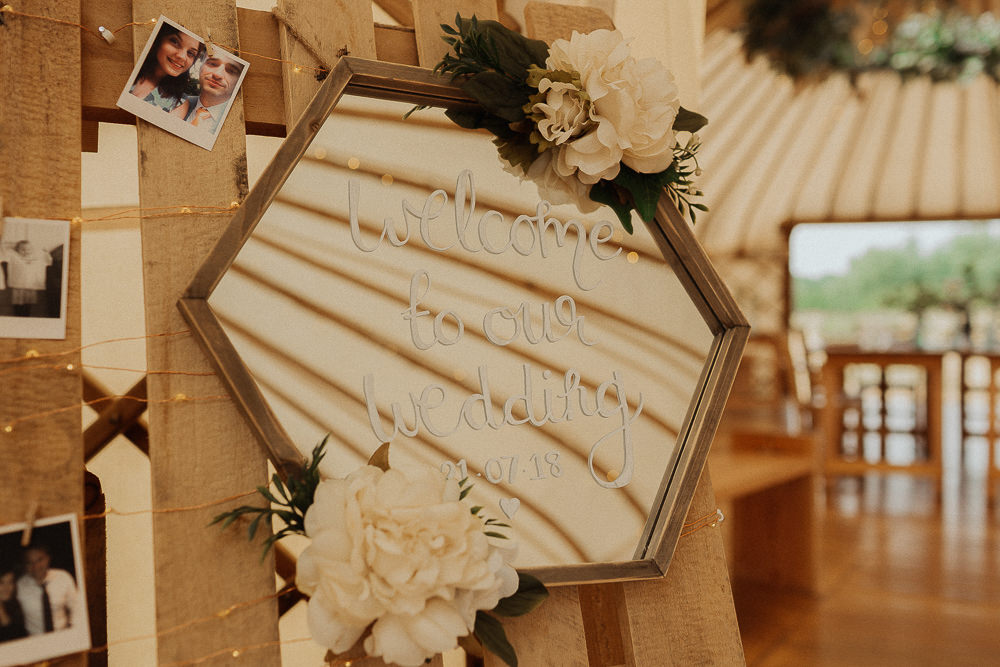 Mirror Sign Flowers Modern Calligraphy Riverside Weddings Oxfordshire Yurt Luis Calow Photographer
