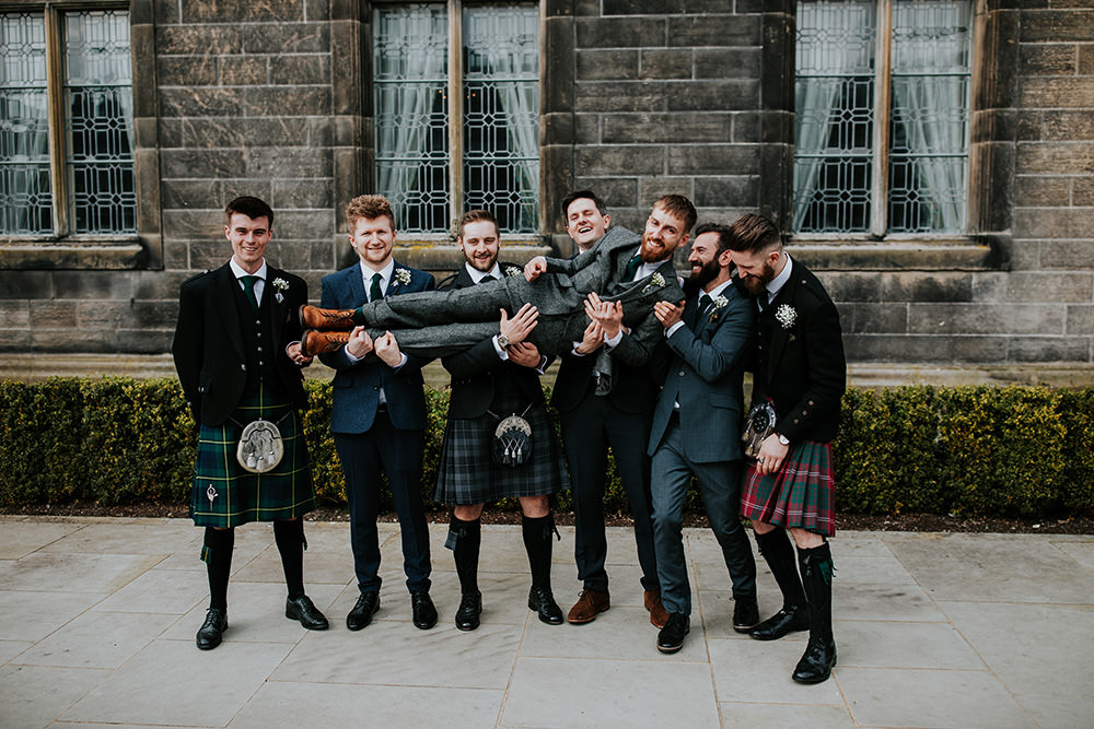 Groom Groomsmen Kilts Suits Scandi Foliage Wedding Ross Alexander Photography