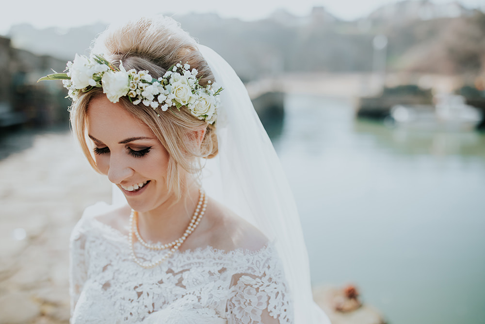 Dress Gown Bride Bridal Lace Long Sleeves Bardot Off Shoulder Train Veil Flower Crown Make Up Scandi Foliage Wedding Ross Alexander Photography