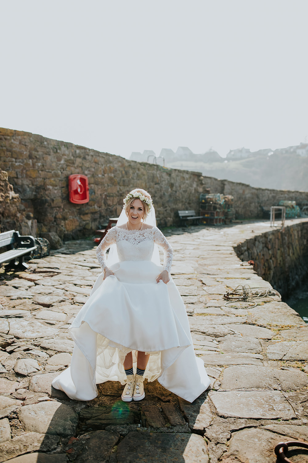 Dress Gown Bride Bridal Lace Long Sleeves Bardot Off Shoulder Train Veil Trainers Socks Scandi Foliage Wedding Ross Alexander Photography