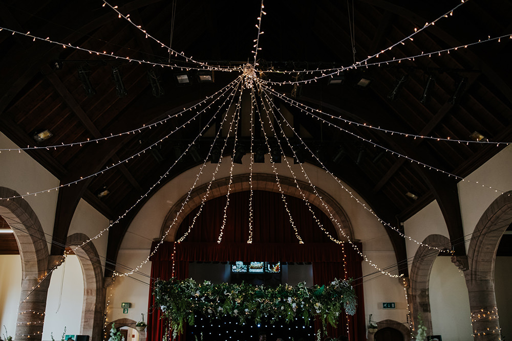 Hall Fairy Light Ceiling Canopy Venue Reception Scandi Foliage Wedding Ross Alexander Photography