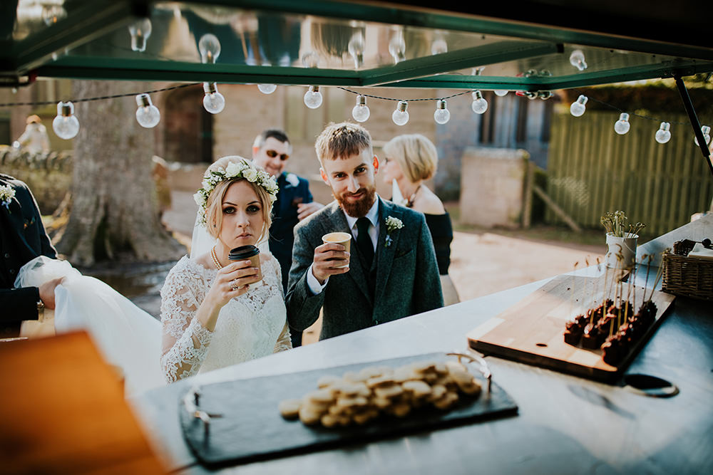 Coffee Truck Van Drinks Scandi Foliage Wedding Ross Alexander Photography