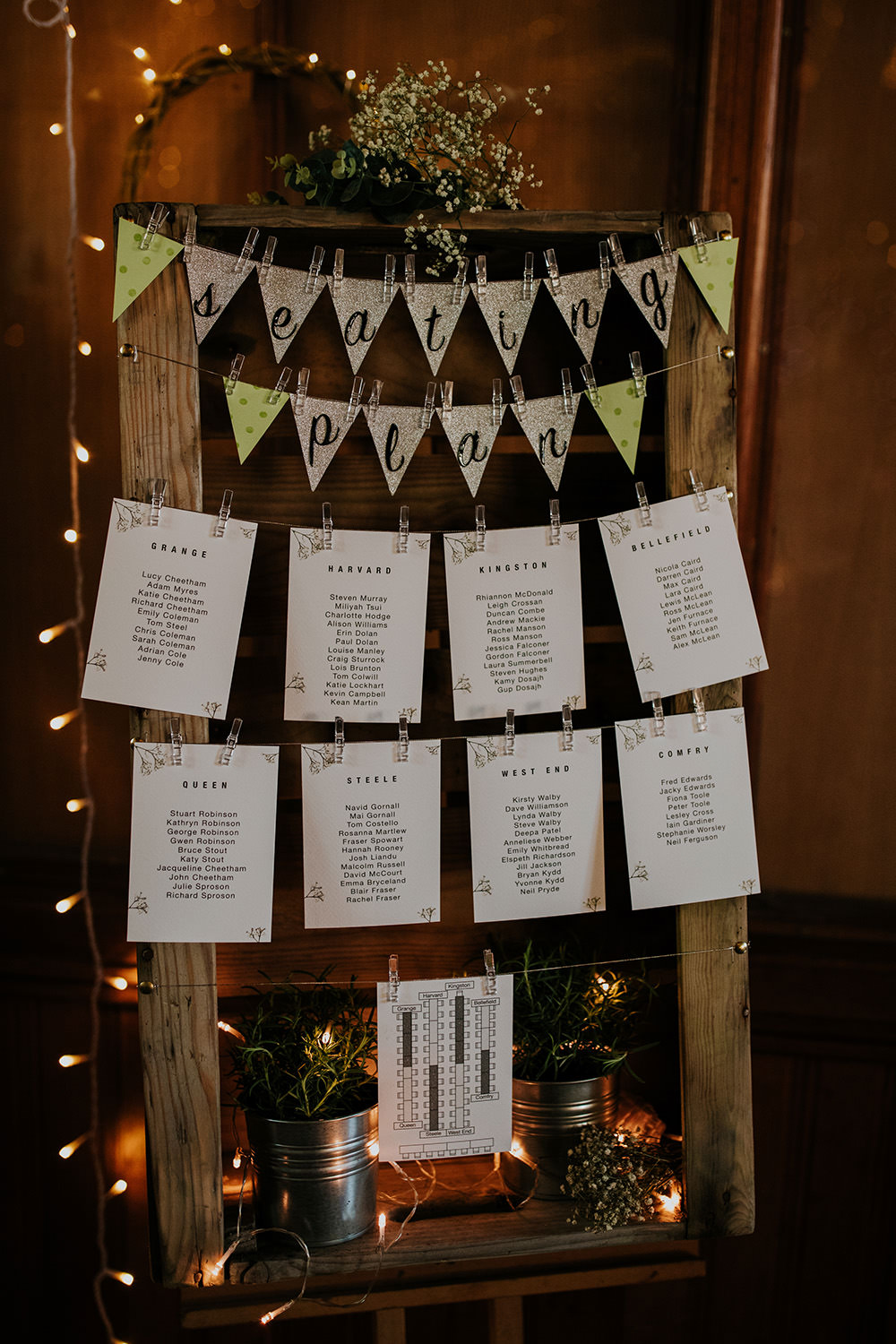 Seating Plan Table Chart Pegs Bunting Wooden Frame Scandi Foliage Wedding Ross Alexander Photography