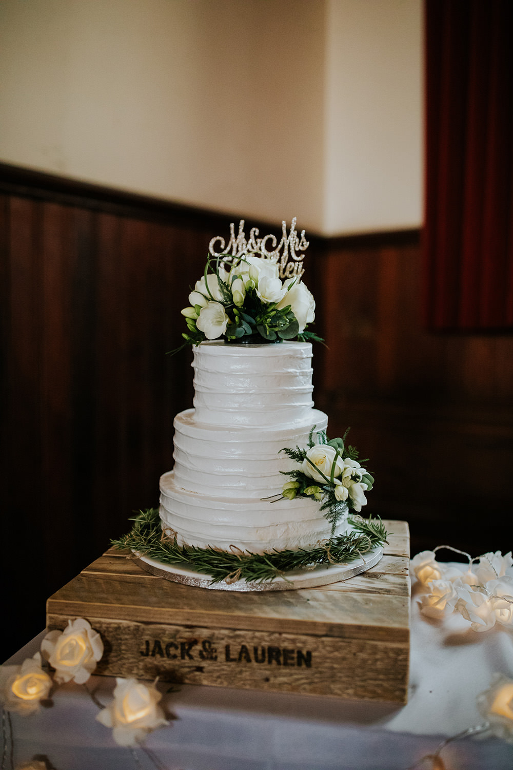 Buttercream Cake Greenery Flowers Crate Topper Scandi Foliage Wedding Ross Alexander Photography