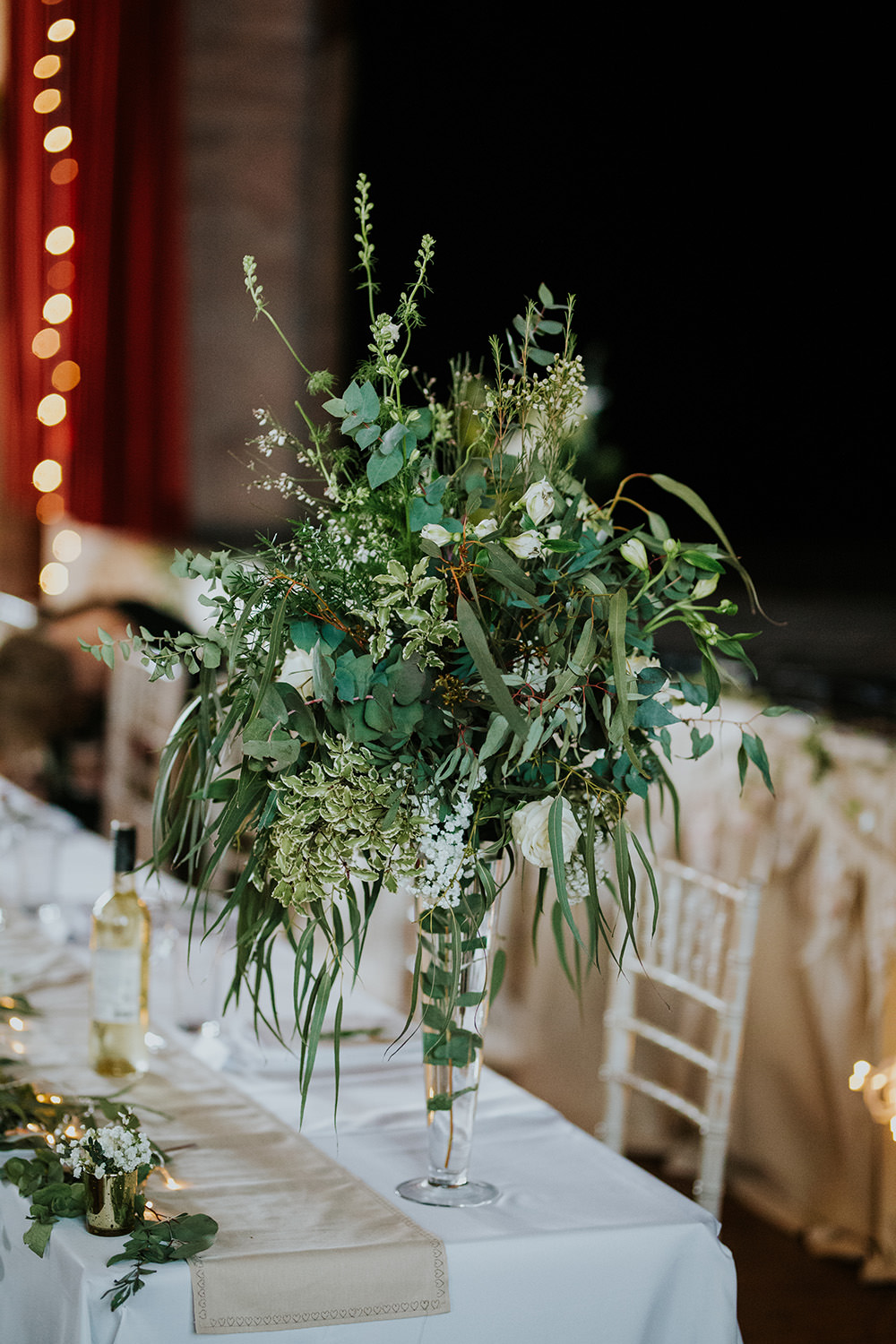 Greenery Flowers Tall Vase White Rose Scandi Foliage Wedding Ross Alexander Photography