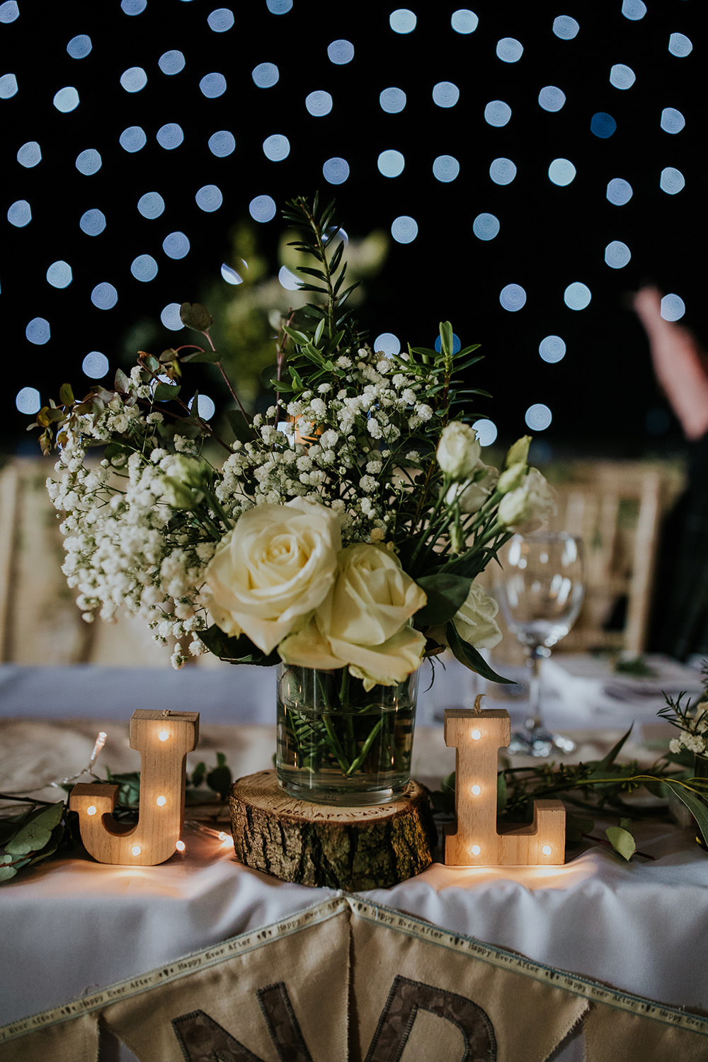 Greenery Flowers Jar Log Stand Lights Centrepice Table White Rose Scandi Foliage Wedding Ross Alexander Photography