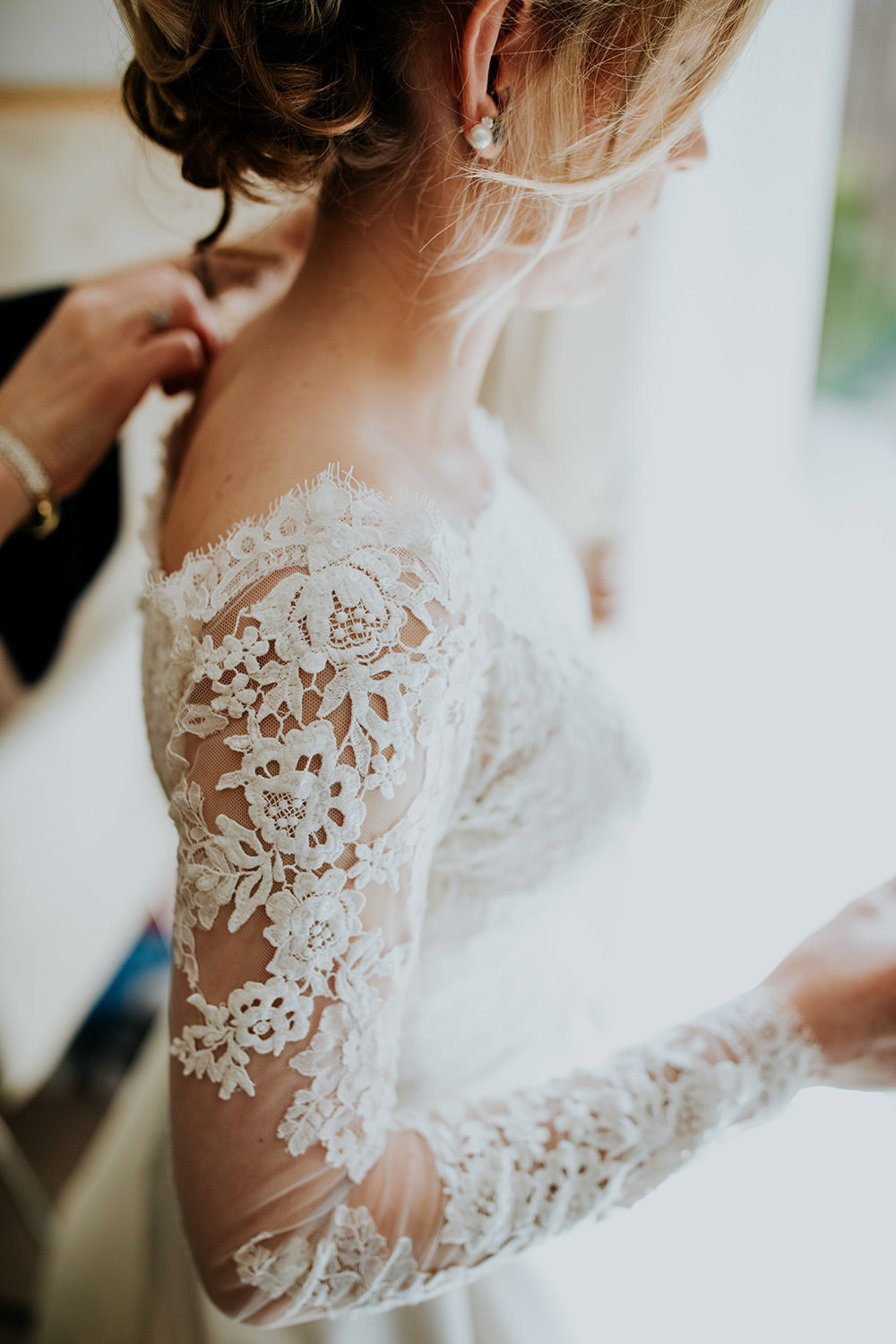 Dress Gown Bride Bridal Lace Long Sleeves Bardot Off Shoulder Train Veil Scandi Foliage Wedding Ross Alexander Photography