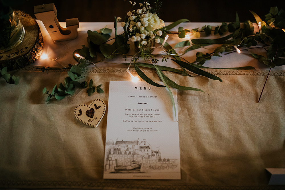 Menu Stationery Place Setting Scandi Foliage Wedding Ross Alexander Photography
